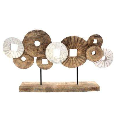 Brown and White Abstract Circles Sculpture on Rectangular Base