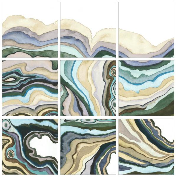 12 In X 12 In Geode Abstract Waves By Grace Popp Printed Canvas Wall Art 9 Piece