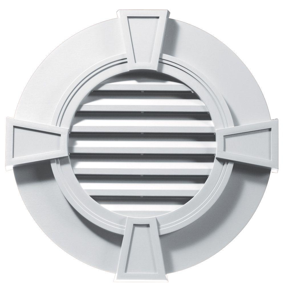 Builders Edge 30 in. Round Gable Vent with Keystones in White