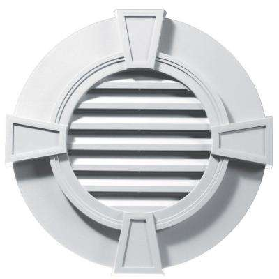 30 in. Round Gable Vent with Keystones in White