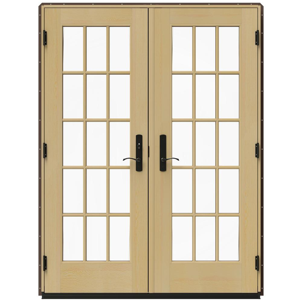 Jeld wen 60 in x 80 in w 4500 brown clad wood right hand for French inswing patio door screen