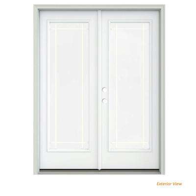 60 in. x 80 in. White Painted Steel Right-Hand Inswing 9 Lite Glass Stationary/Active Patio Door