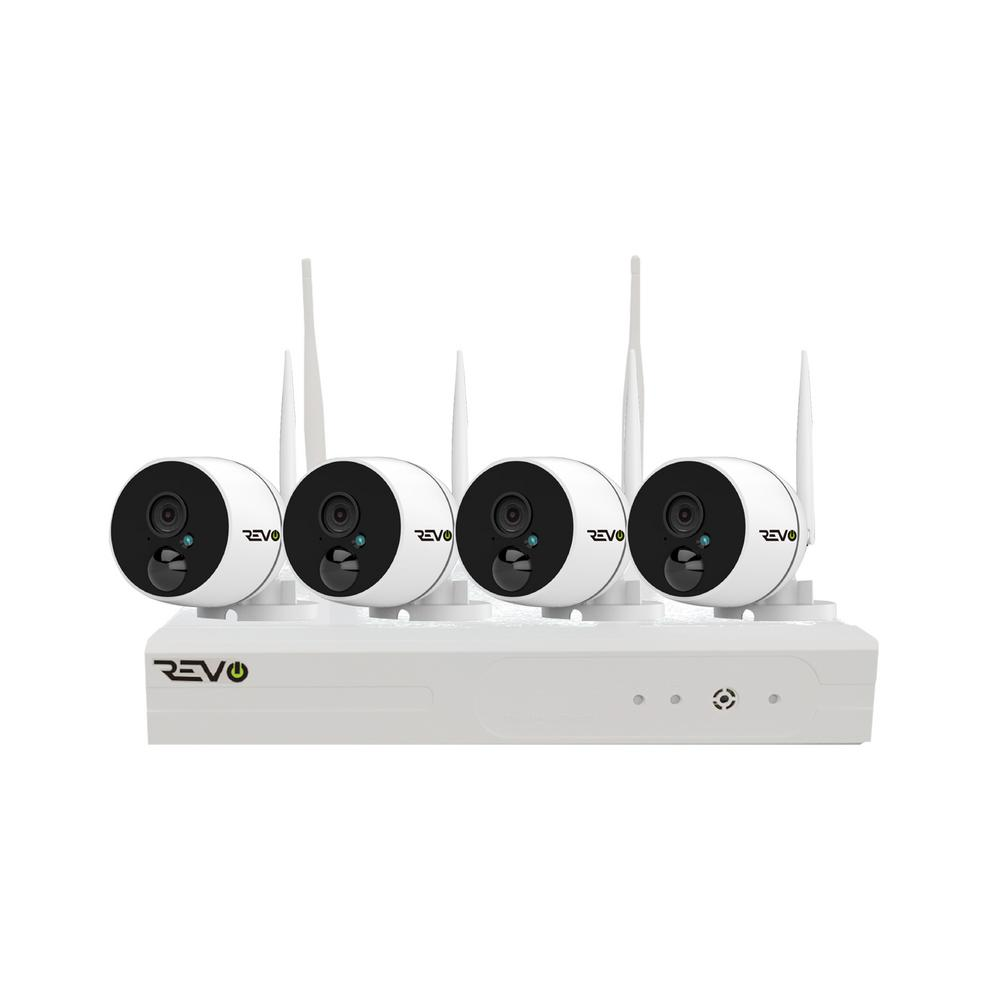 Revo Wireless 4-Channel Smart 1TB NVR Surveillance System with 4 Full-HD 1080p Wireless Audio Capable Bullet Cameras