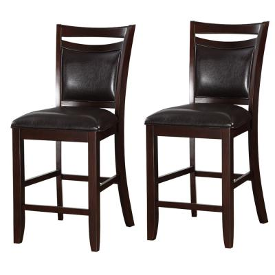 Classic 24 in. Brown and Black Wooden Armless High Chair (Set of 2)