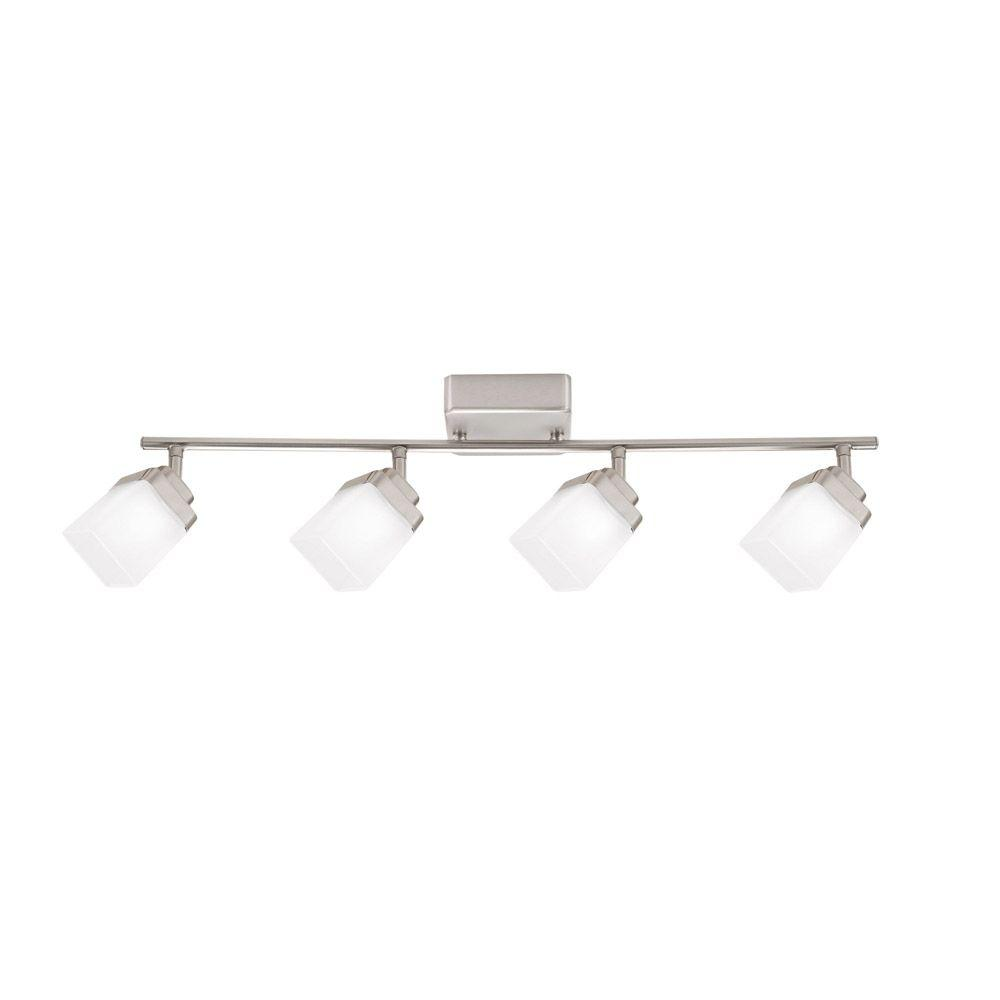 Hampton Bay 4 Light Brushed Nickel Led Dimmable Fixed Track Lighting Kit With Straight Bar Frosted Square Gl