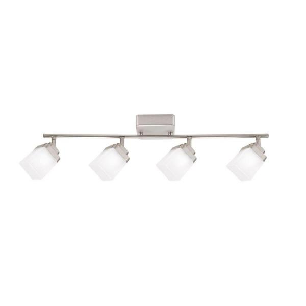 4-Light Brushed Nickel LED Dimmable Fixed Track Lighting Kit with Straight Bar Frosted Square Glass