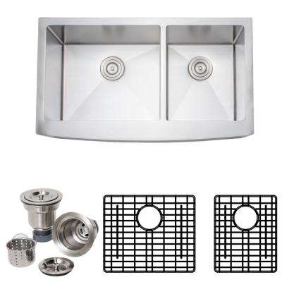 New Chef's Collection Handcrafted Apron-Front Stainless Steel 36 in. 60/40 Double Bowl Kitchen Sink Package