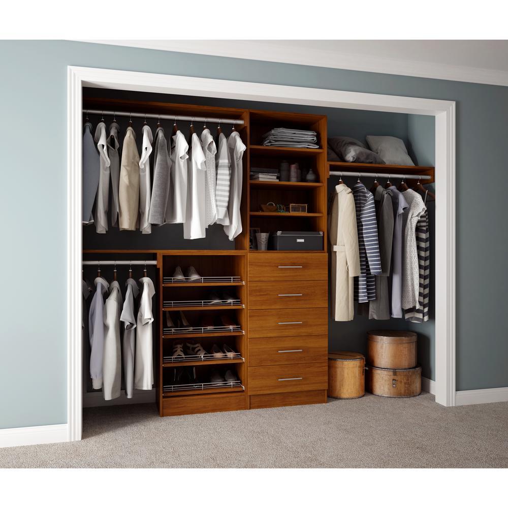 Assembled Reach-In 15 in. D x 120 in. W x 84 in. H Calabria in a Cognac Melamine 11-Shelves Closet System
