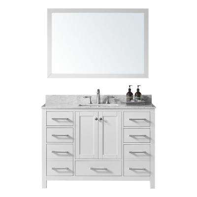 Colette 48 in. W x 22 in. D x 34.2 in. H Bath Vanity in White w/ Marble Vanity Top in White w/ White Basin and Mirror