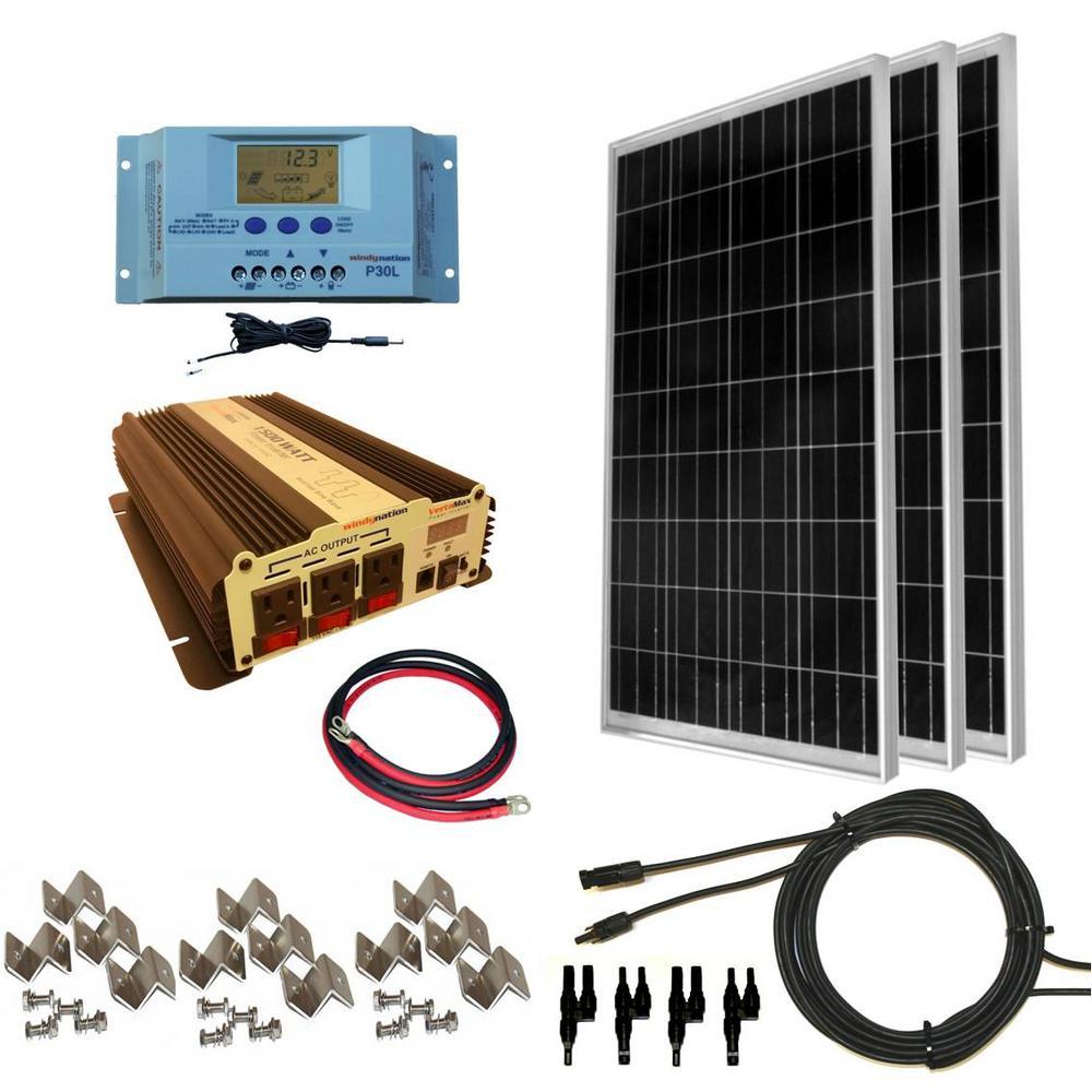 300-Watt Off-Grid Polycrystalline Solar Panel Kit with 1500-Watt VertaMax Power Inverter