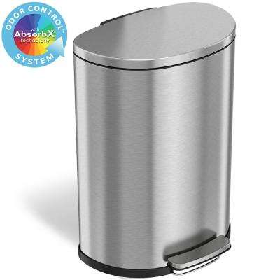 SoftStep 13.2 Gal. Semi-Round Stainless Steel Step Trash Can with Odor Control System and Inner Bin for Office, Kitchen