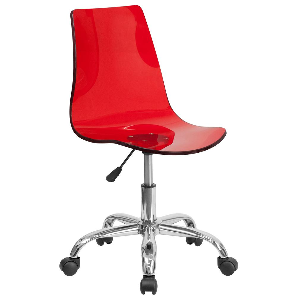Contemporary Transpa Red Acrylic Task Chair With Chrome Base