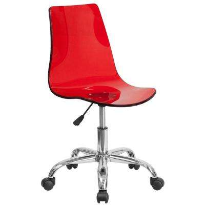 Contemporary Transparent Red Acrylic Task Chair with Chrome Base