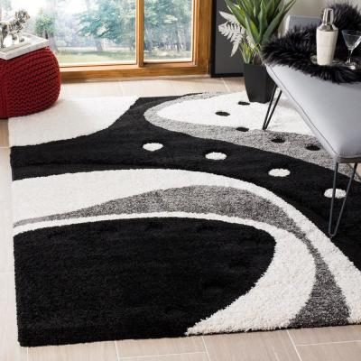Florida Shag Black/Ivory 6 ft. 7 in. x 6 ft. 7 in. Square Area Rug
