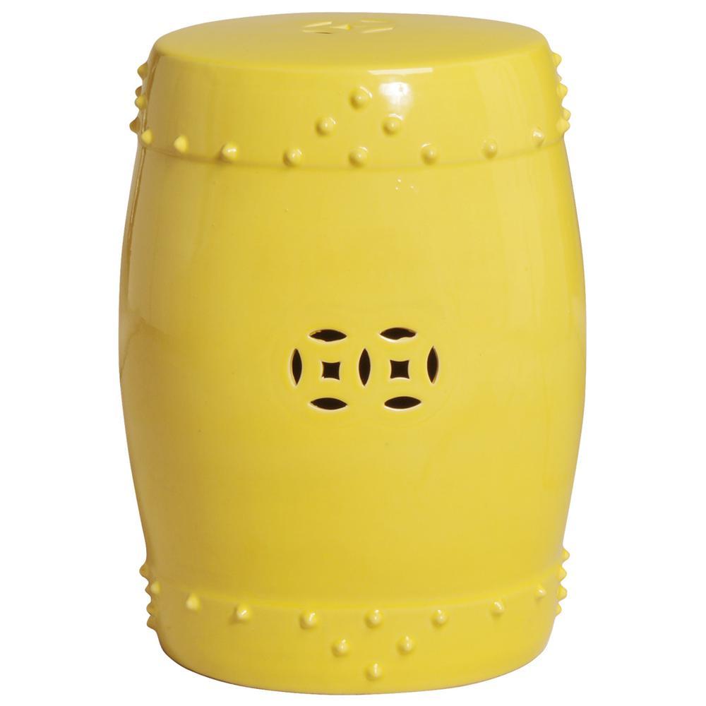 Astonishing Emissary Large Yellow Drum Ceramic Garden Stool Gamerscity Chair Design For Home Gamerscityorg