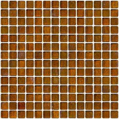 12 in. x 12 in. x 8 mm Tile Esque Amber Brown Iridescent Glass Mesh-Mounted Mosaic Tile