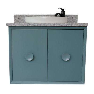 Stora 31 in. W x 22 in. D Wall Mount Bath Vanity in Aqua Blue with Granite Vanity Top in Gray with White Round Basin