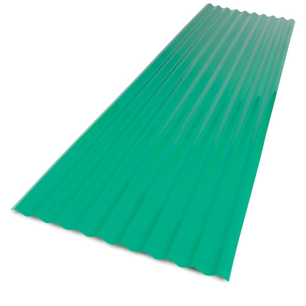 Palruf 26 in x 8 ft Green PVC Corrugated Roof Panel101479 The