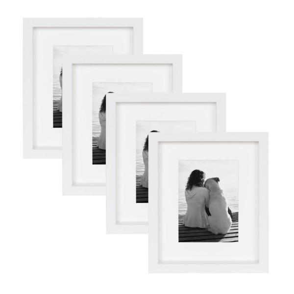 MacIntyre 8 in. x 10 in. Matted to 5 in. x 7 in. White Picture Frame (Set of 4)