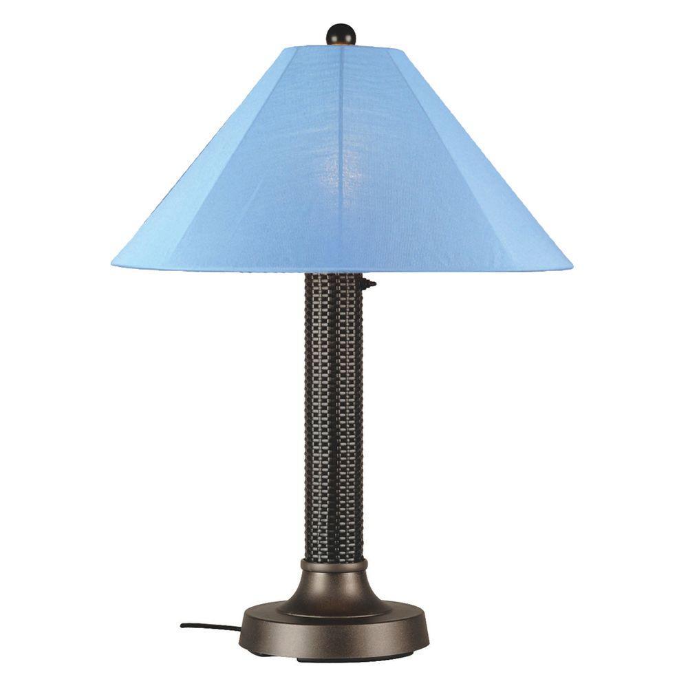 Bahama Weave 34 in. Dark Mahogany Outdoor Table Lamp with Sky