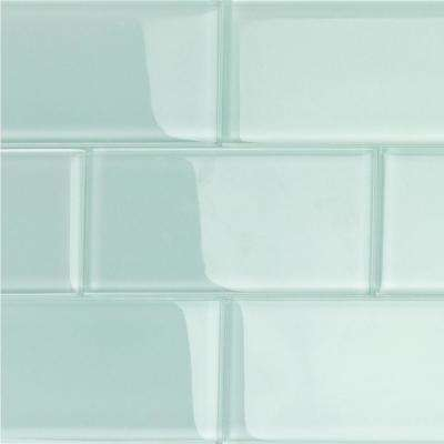Contempo Seafoam Polished 3 in. x 6 in. x 8 mm Glass Subway Tile