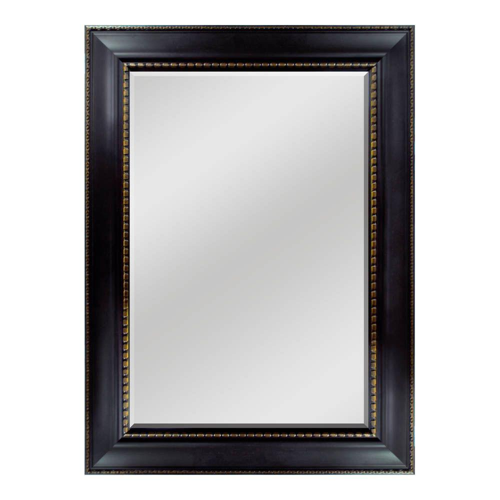 Home Decorators Collection 33-1/2 in. W x 45-1/2 in. H  Framed Wall Mirror in Espresso with Gold Accent-DISCONTINUED