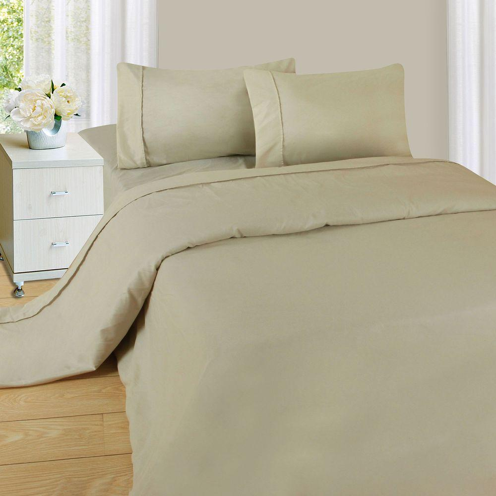 1200 Series 4-Piece Bone 75 GSM Queen Microfiber Sheet Set