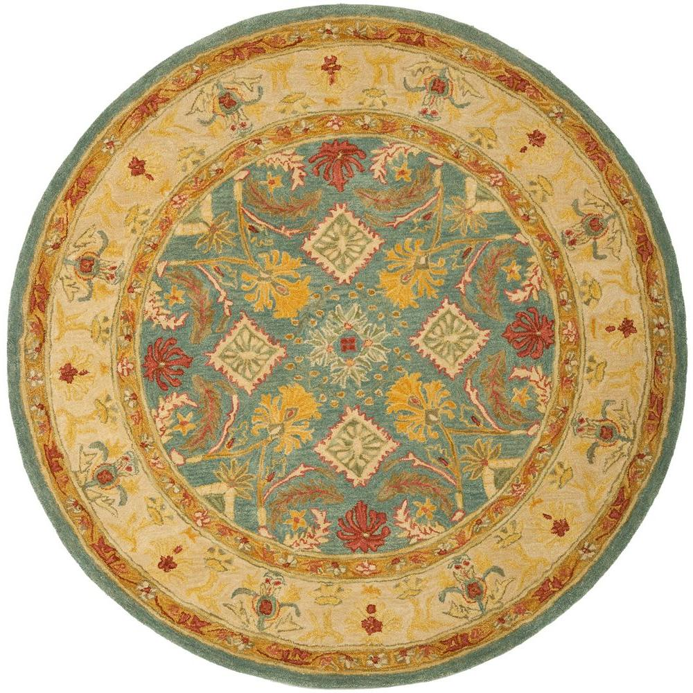 Anatolia Light Blue/Ivory 6 ft. x 6 ft. Round Area Rug