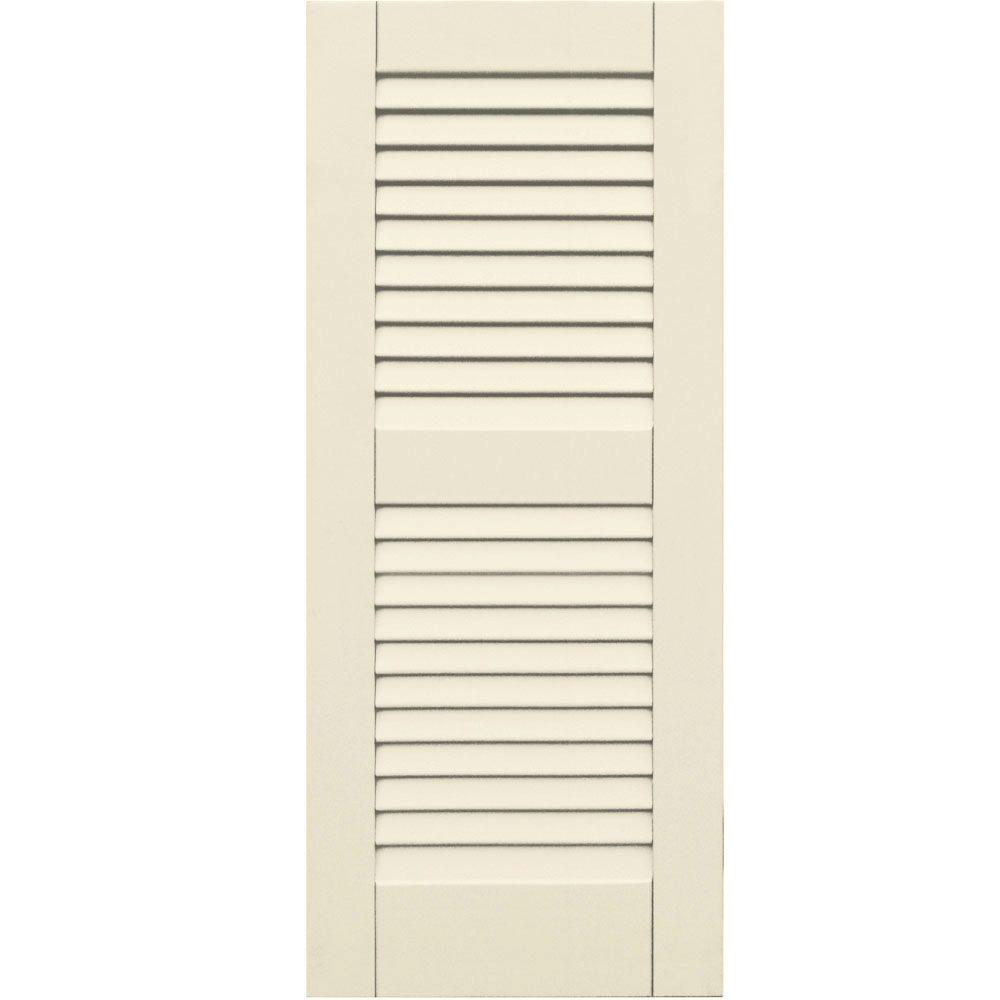 Winworks Wood Composite 15 in. x 36 in. Louvered Shutters Pair #651 Primed/Paintable