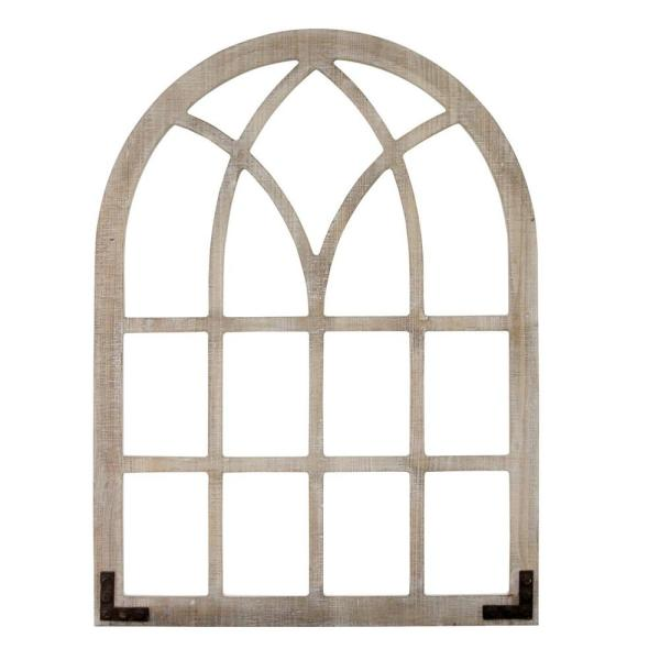 Distressed Wood Framed Window Arch Wall Decor