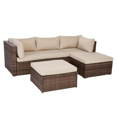 Valley Peak 3-Piece All-Weather Brown Wicker Sectional Outdoor Patio Set with Beige Cushions