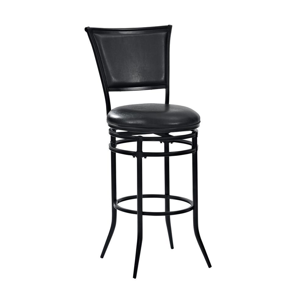 Rachel 30 in. Black Swivel Bar Stool With Black Cushion