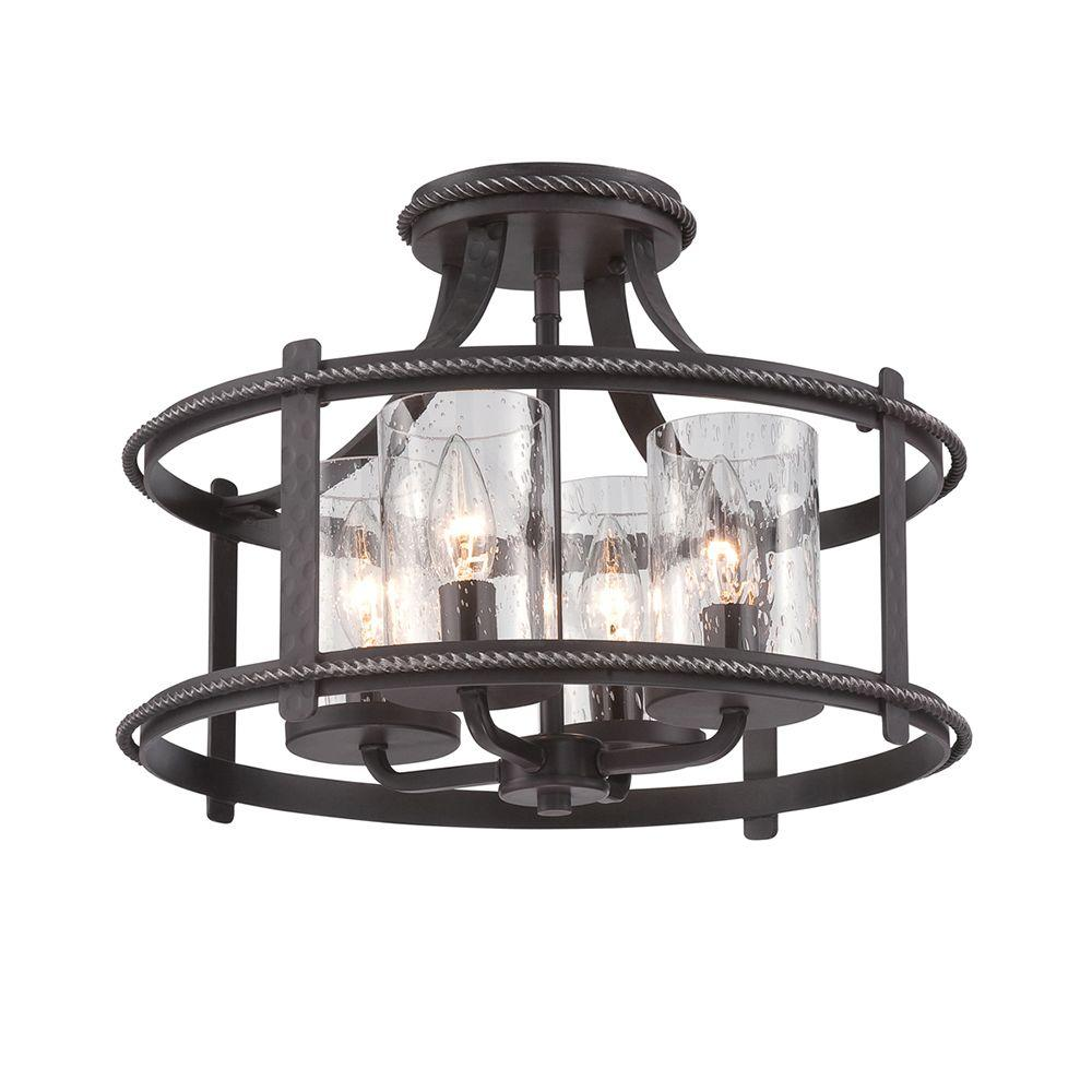 Designers Fountain Palencia 4 Light Artisan Pardo Wash Interior Incandescent Semi Flush Mount
