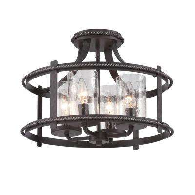 Palencia 4-Light Artisan Pardo Wash Interior Incandescent Semi Flush Mount