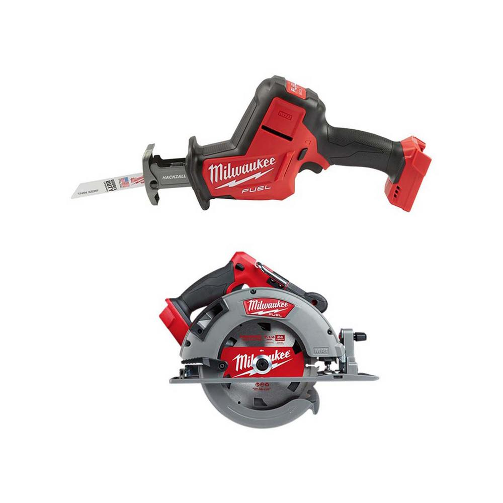 Milwaukee M18 FUEL 18-Volt Lithium-Ion Brushless Cordless HACKZALL Reciprocating Saw with 7-1/4 in. Circular Saw
