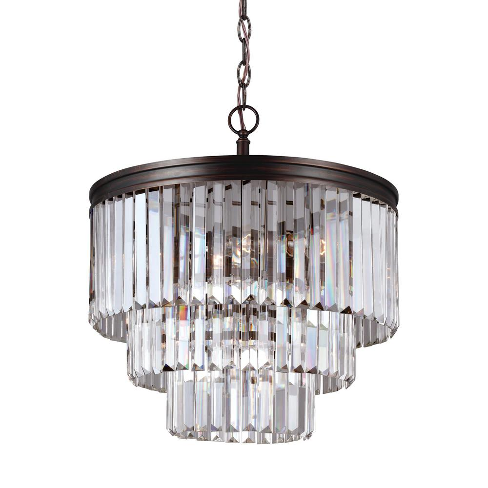 Carondelet 4-Light Burnt Sienna Chandelier with Clear Beveled Glass Shade