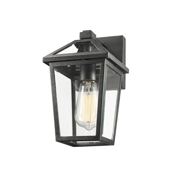 Filament Design 1 Light Black Outdoor Wall Sconce With Clear Beveled Glass Hd Te43546 The Home Depot