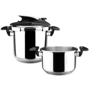 Click here to buy Magefesa Nova trio 4.1 + 6.3 Qt. Stainless Steel Stovetop Pressure Cookers by Magefesa.