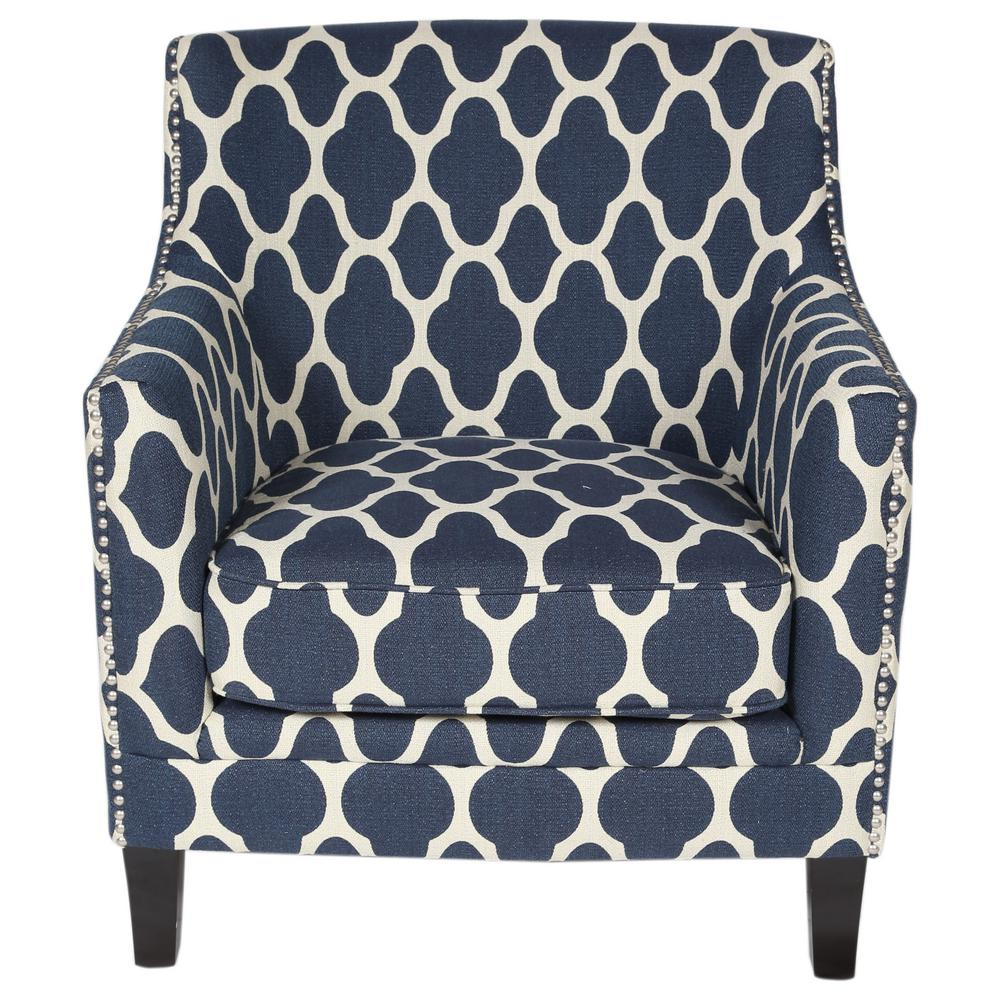 Morracan Accent Chair: Cassie Blue Moroccan Pattern Accent Chair-01-115C-03-143A