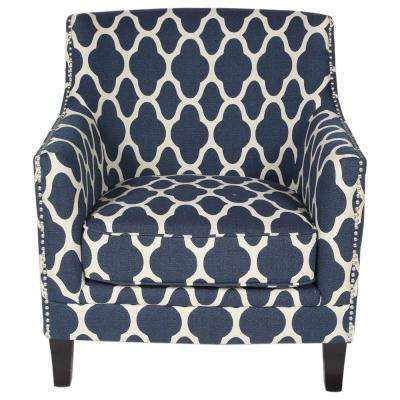 Cassie Blue Moroccan Pattern Accent Chair