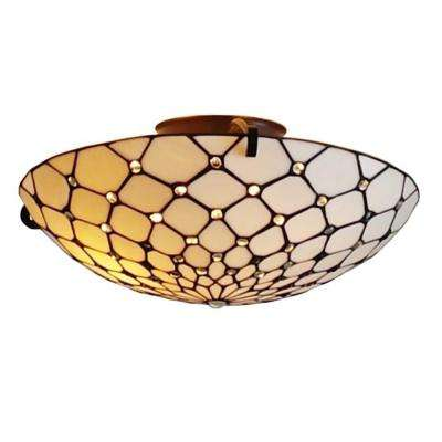 Tiffany Style 2-Light Jeweled Pendant Ceiling Fixture Lamp 17 in. Wide