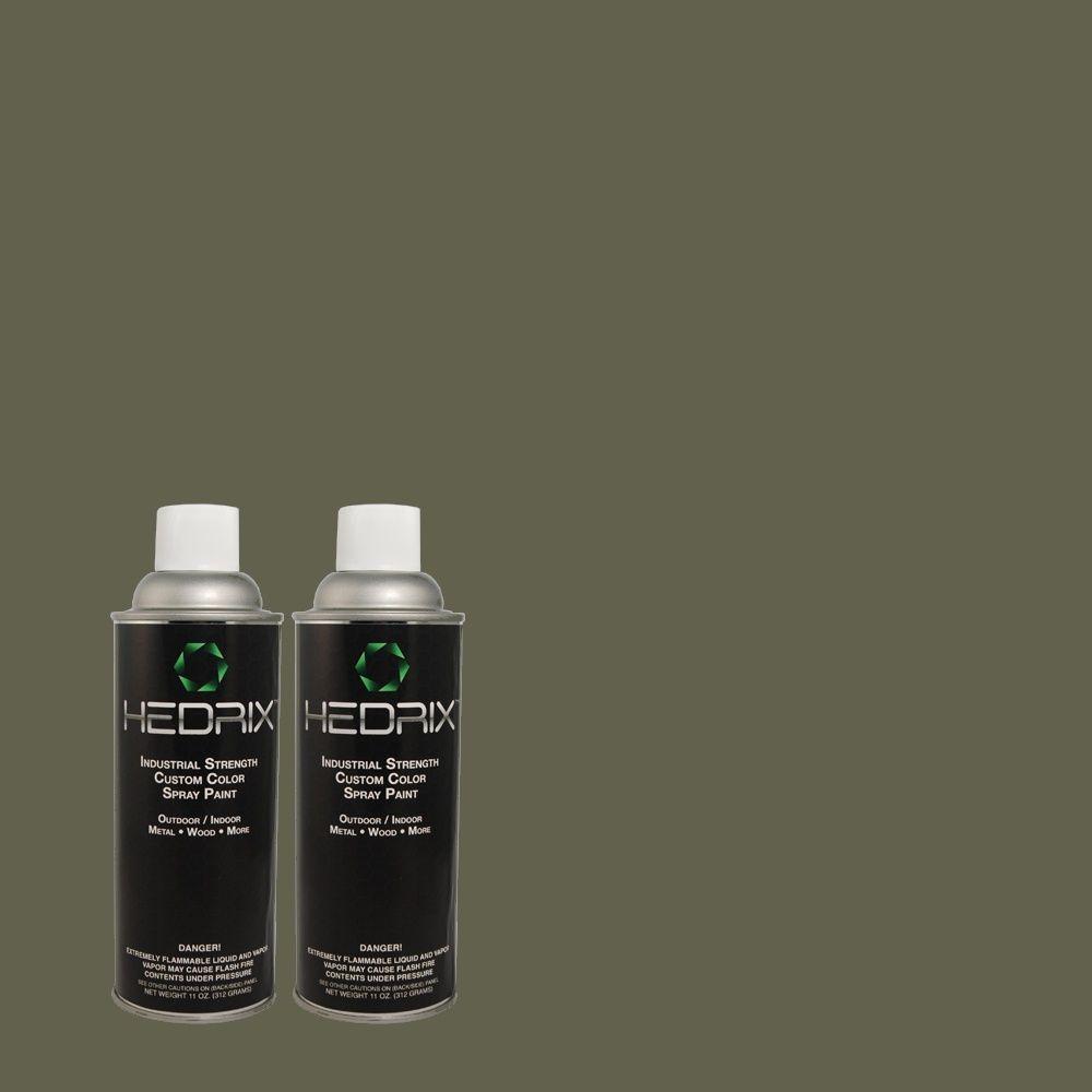 Hedrix 11 oz. Match of 3B57-6 Woodsman Green Flat Custom Spray Paint (2-Pack)