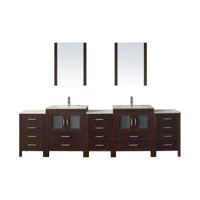 Dior 110 in. W Bath Vanity in Espresso with Ceramic Vanity Top in White with Square Basin and Mirror and Faucet