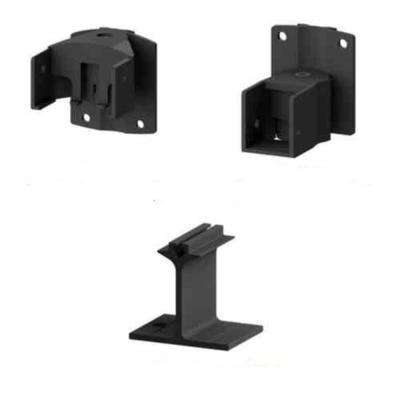 AquatinePLUS 2 in. 2.5 in. x 5 in. Black Aluminum Pool Fence Picket Angle Bracket Kit