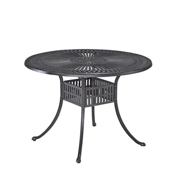 Grenada Charcoal Gray 42 in. Round Cast Aluminum Outdoor Dining Table