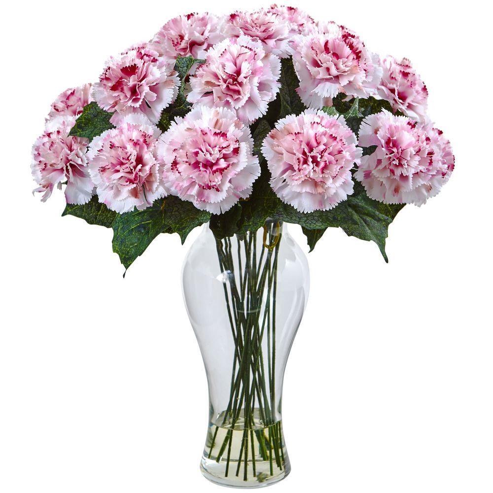 Nearly Natural Magenta Carnation Arrangement with Vase 1403-WM