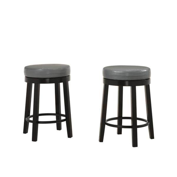 Set of 2 Espresso Backless Bar Stool with Brown Fabric Seat by Coaster