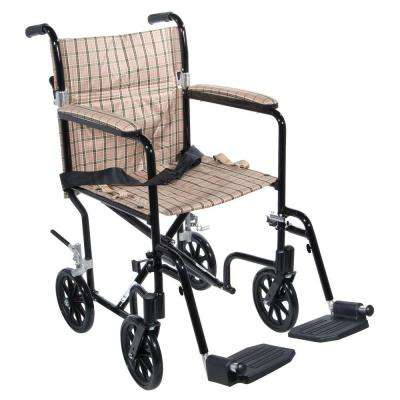Flyweight Lightweight Transport Wheelchair with Black Frame and Tan Plaid Chair