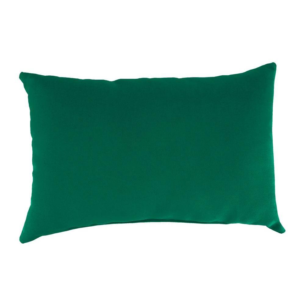 Sunbrella 9 in. x 22 in. Canvas Forest Green Lumbar Outdoor Pillow