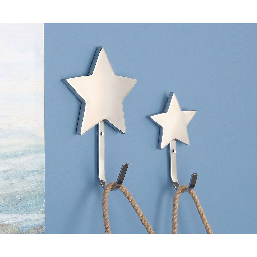 Silver Stainless Steel Star Wall Hooks (Set of 2)